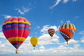 Hot air balloon flying on sky. travel and air transportation concept. balloon carnival in Thailand