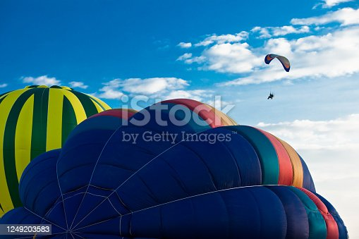 Colorful hot air balloon in a blue sky