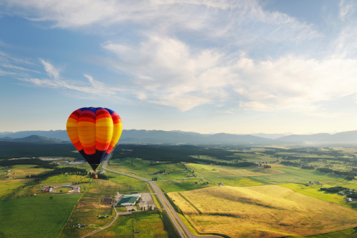 Hot Air Balloon Scenic Stock Photo - Download Image Now