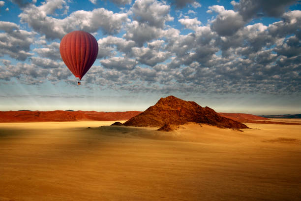 Hot Air Balloon - Sossusvlei - Namib Desert - Namibia Aerial view from a Hot Air Balloon in the Sossusvlei area of the Namib-Naukluft National Park in the Namib Desert in Namibia. namibia stock pictures, royalty-free photos & images