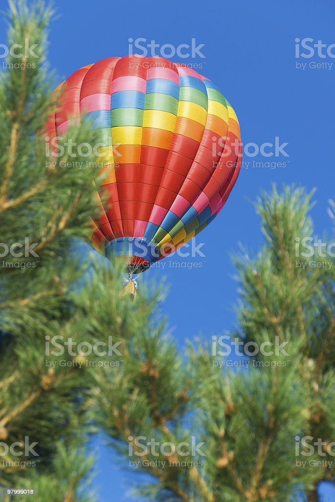 Hot air balloon through the trees royalty-free stock photo