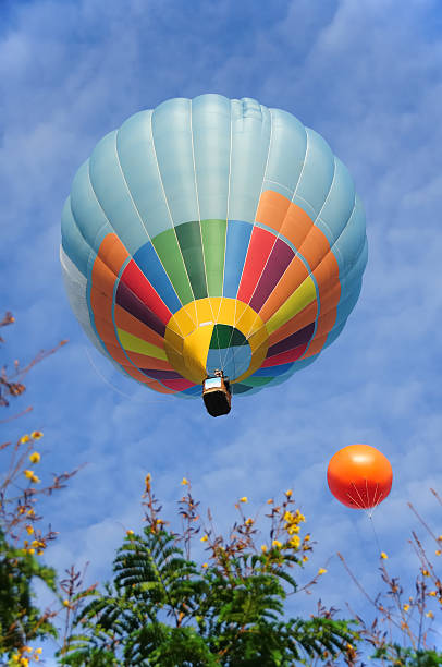 Hot Air Balloon up in the Sky stock photo