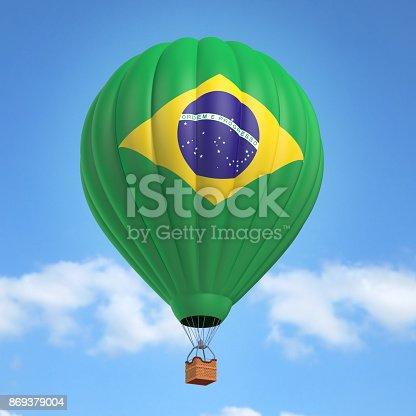 istock Hot air balloon with Brazilian flag 869379004