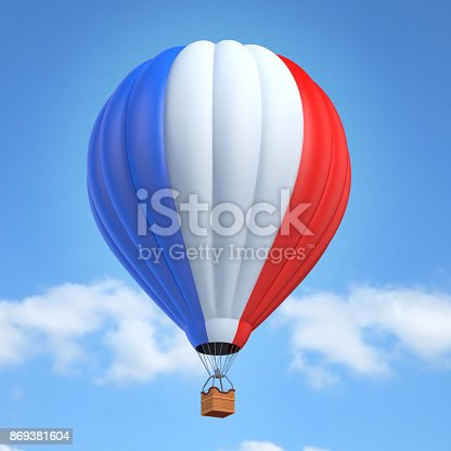 istock Hot air balloon with French flag 869381604
