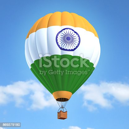 istock Hot air balloon with Indian flag 869379180