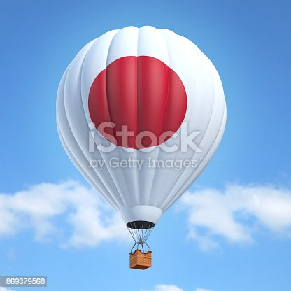 istock Hot air balloon with Japanese flag 869379568