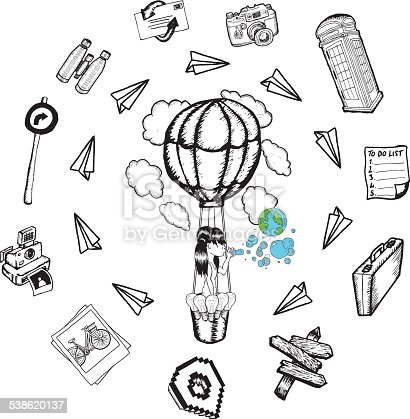istock Hot air balloon with lifestyle doodles 538620137