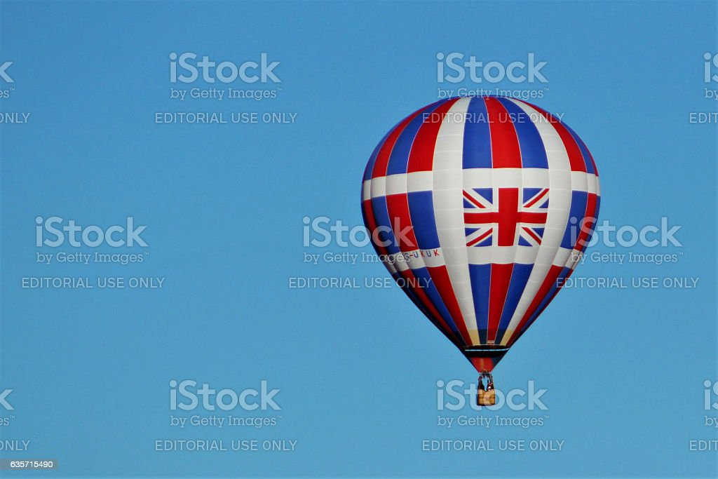 Hot air balloon with Union Jack royalty-free stock photo