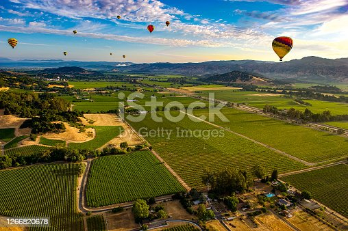 Early morning start of a hot air balloon trip over Napa Valley CA vineyards