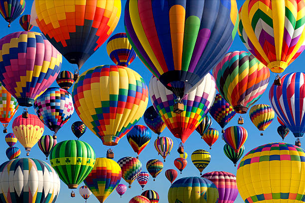 hot air ballooning - balloon stock photos and pictures