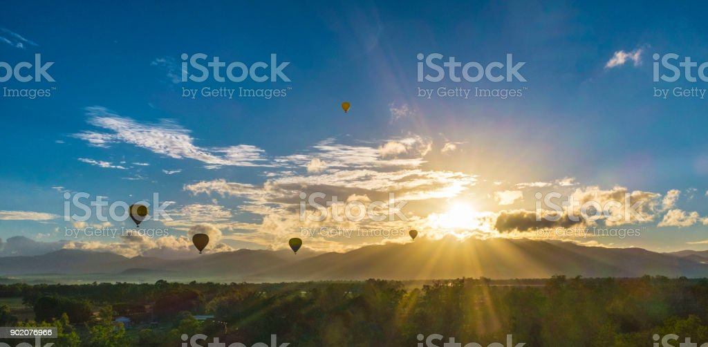 Hot Air Ballooning with Sunrise stock photo