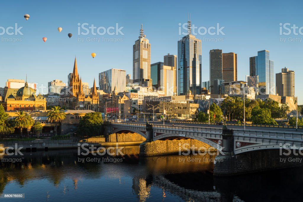 Hot air balloons above Melbourne stock photo
