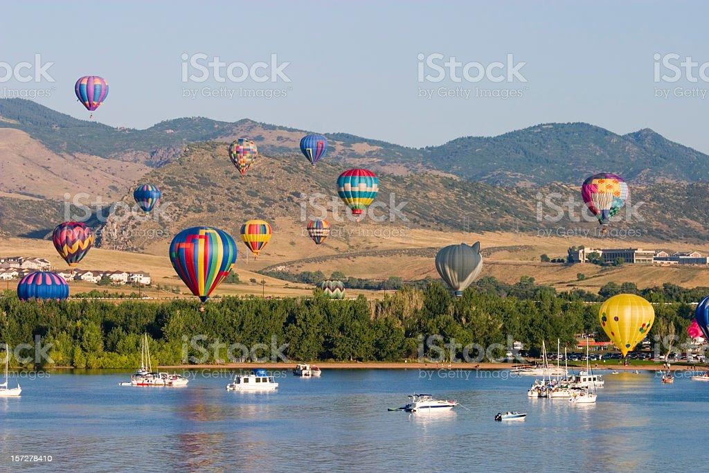 Hot Air Balloons at Chatfield Reservoir Colorado stock photo