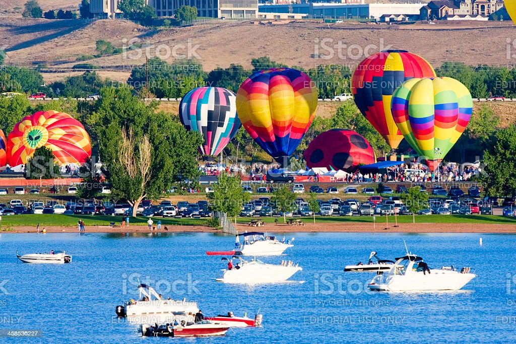 Hot Air Balloons at Chatfield Reservoir Colorado royalty-free stock photo