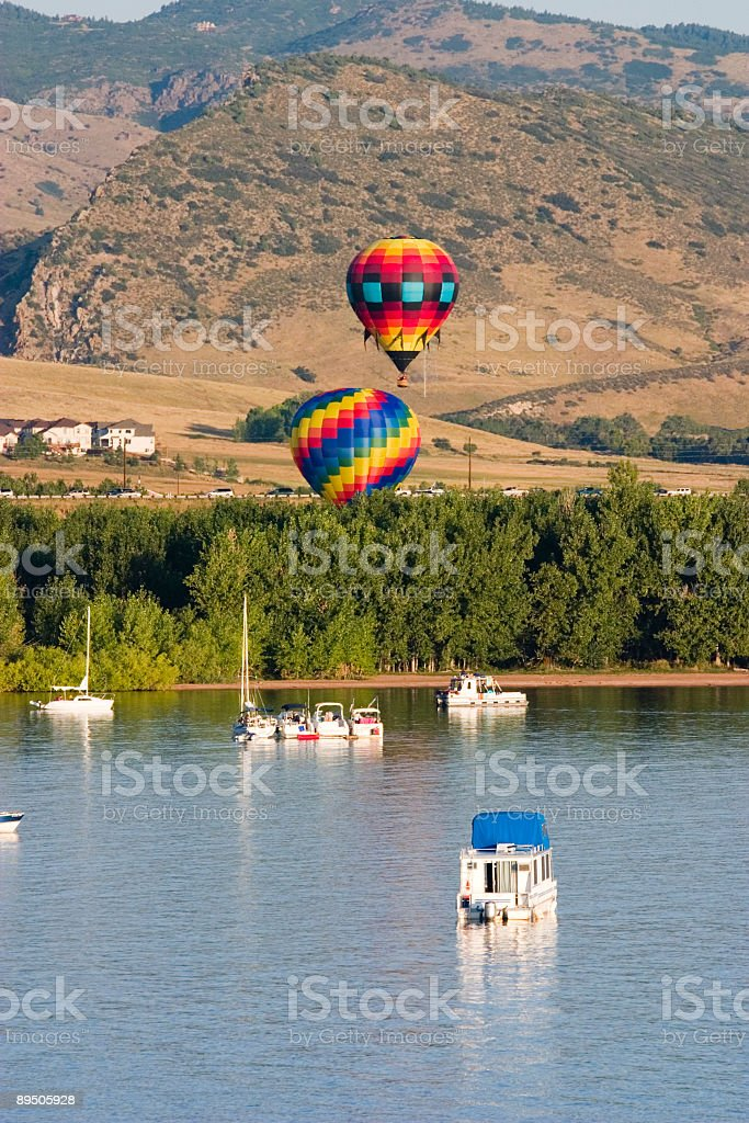 Hot Air Balloons at Chatfield Reservoir Colorado royalty-free stock photo
