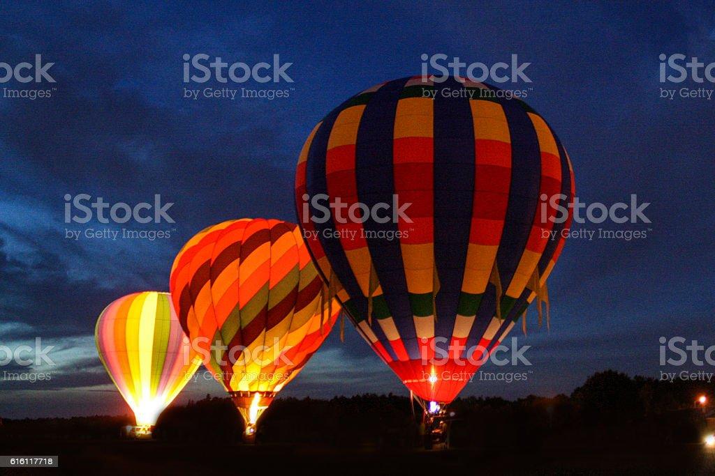 Hot Air Balloons at Night stock photo