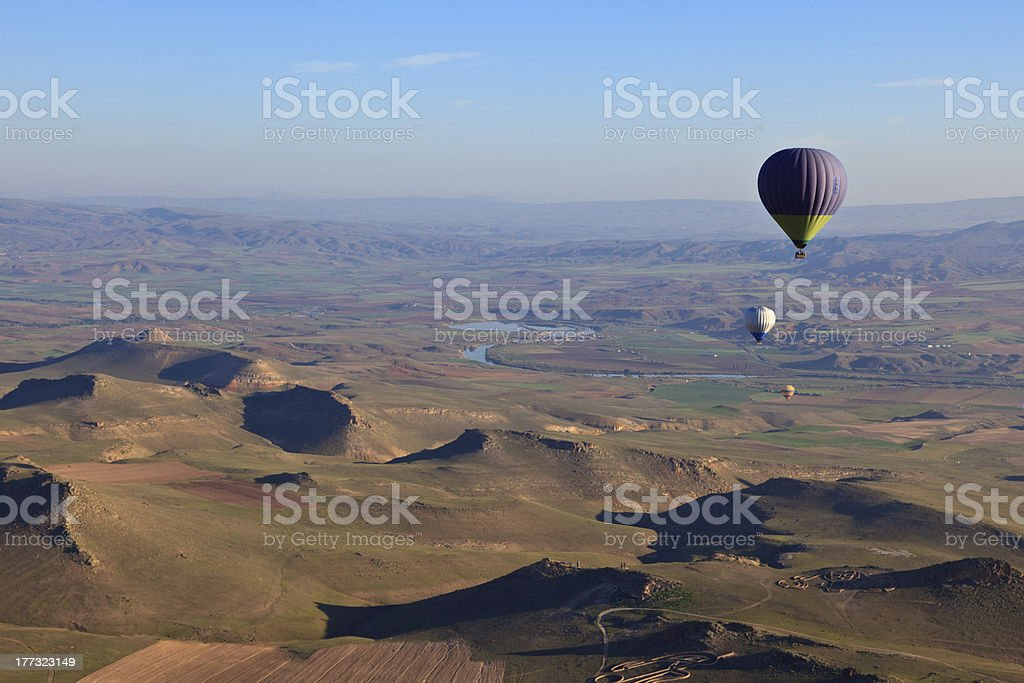 Hot air balloons at sunrise in Turkey royalty-free stock photo