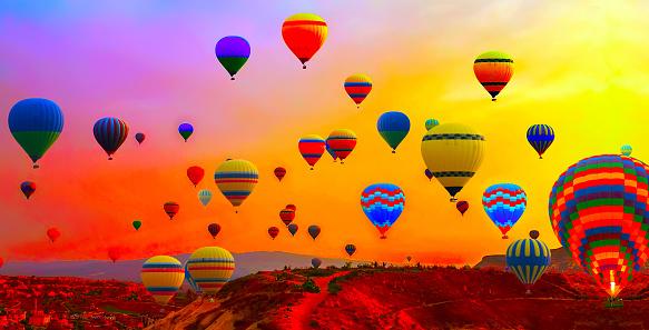 hot air balloons flight sunrise
