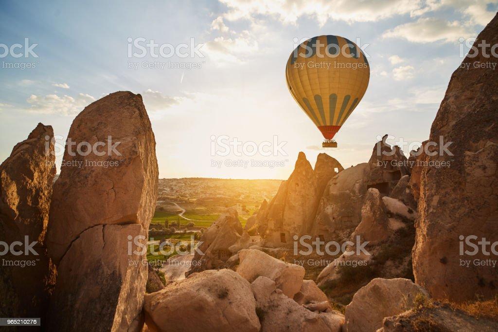 Hot Air Balloons Flying at Sunset, Cappadocia, Turkey zbiór zdjęć royalty-free