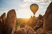 Hot Air Balloons Flying at Sunset, Cappadocia, Turkey