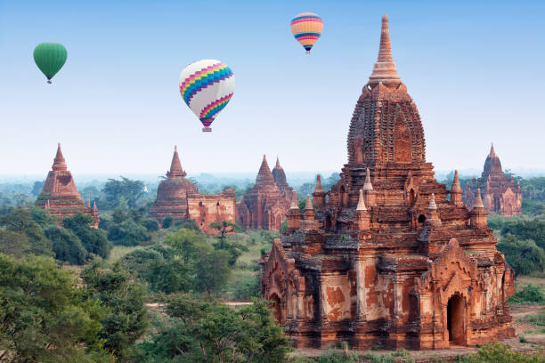 hot air balloons flying over Bagan, Mandalay division, Myanmar stock photo