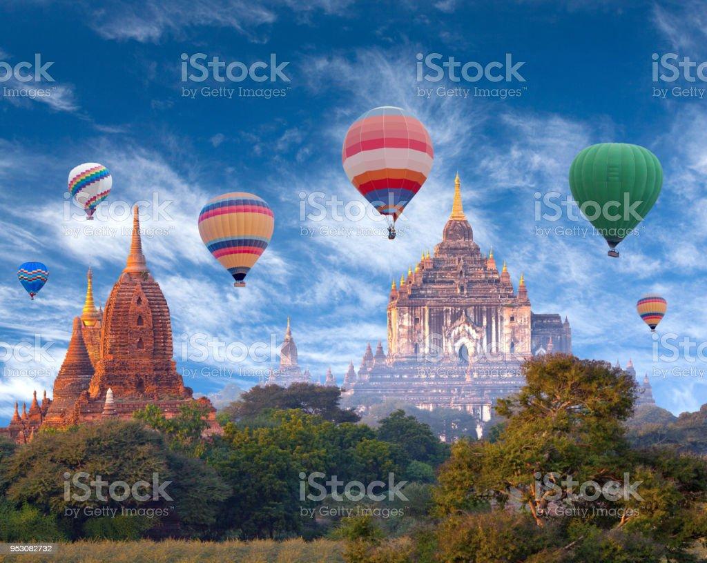 Hot air balloons flying over Bagan, Mandalay division, Myanmar stock photo