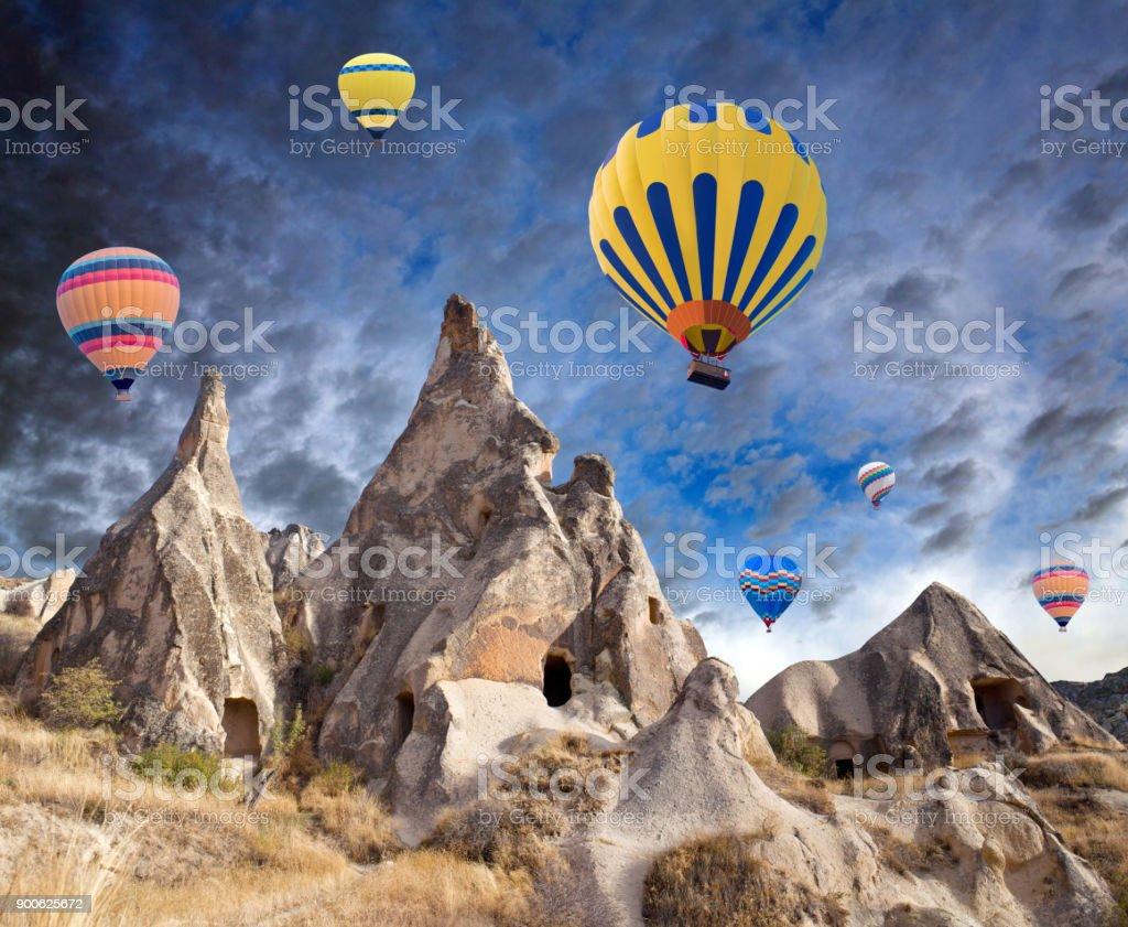 Hot air balloons flying over Cappadocia, Anatolia, Turkey stock photo