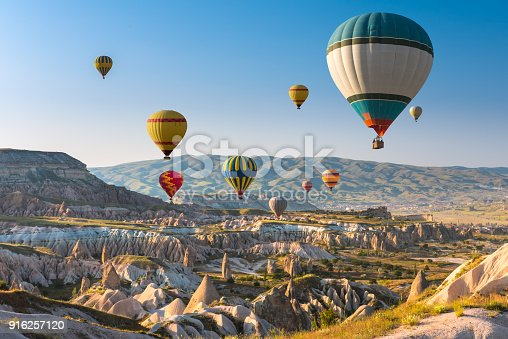 istock Hot air balloons flying over Cappadocia, Turkey 916257120