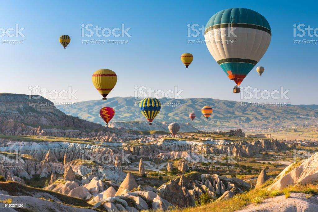 Hot air balloons flying over Cappadocia, Turkey stock photo