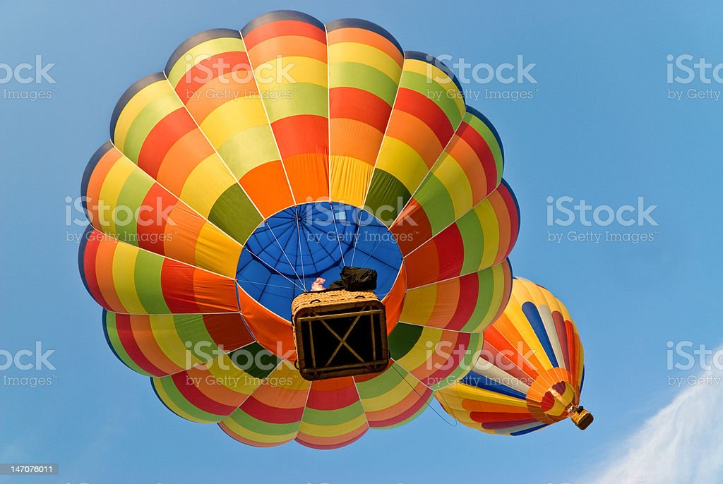 hot air balloons from below stock photo