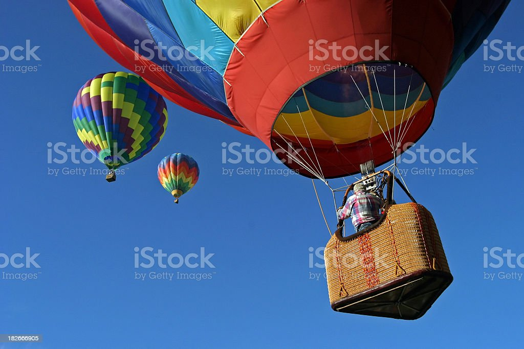 Hot Air Balloons going up stock photo