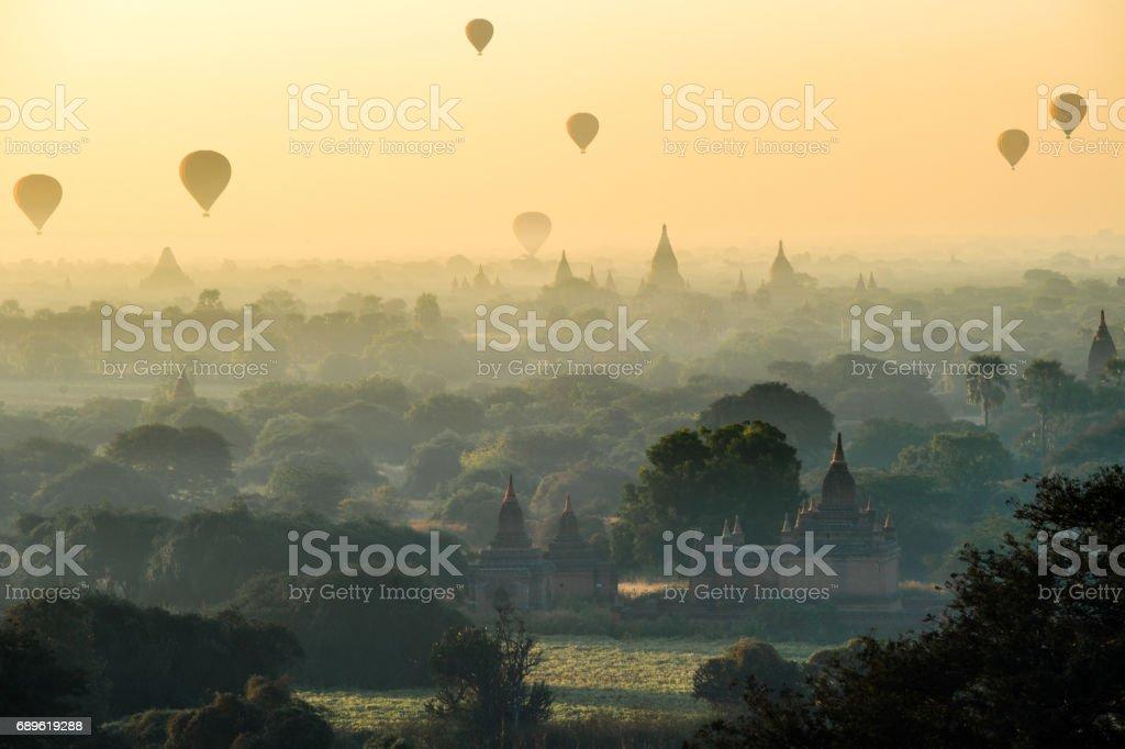 Hot air balloons in Bagan Mandalay region, Myanmar (Burmar) stock photo