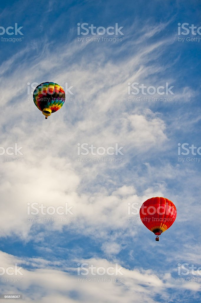 Hot Air Balloons in Blue Sky with Clouds royalty-free stock photo