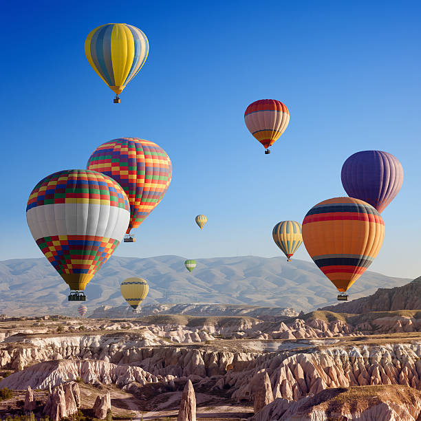 Hot air balloons en Capadocia - foto de stock