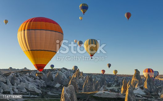 Flying hot air balloons in early morning in Cappadocia