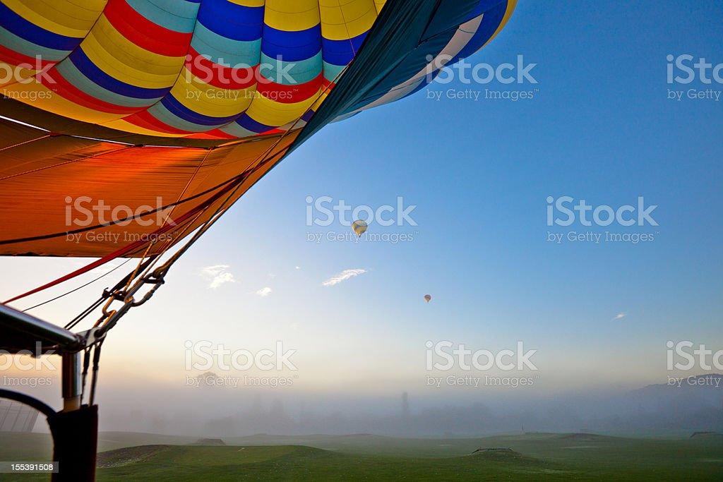 Hot Air Balloons in Napa Valley California stock photo