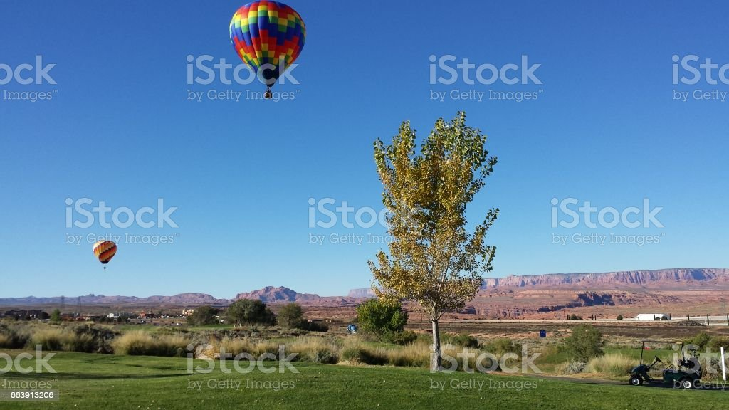 Hot Air Balloons in Page, Arizona stock photo