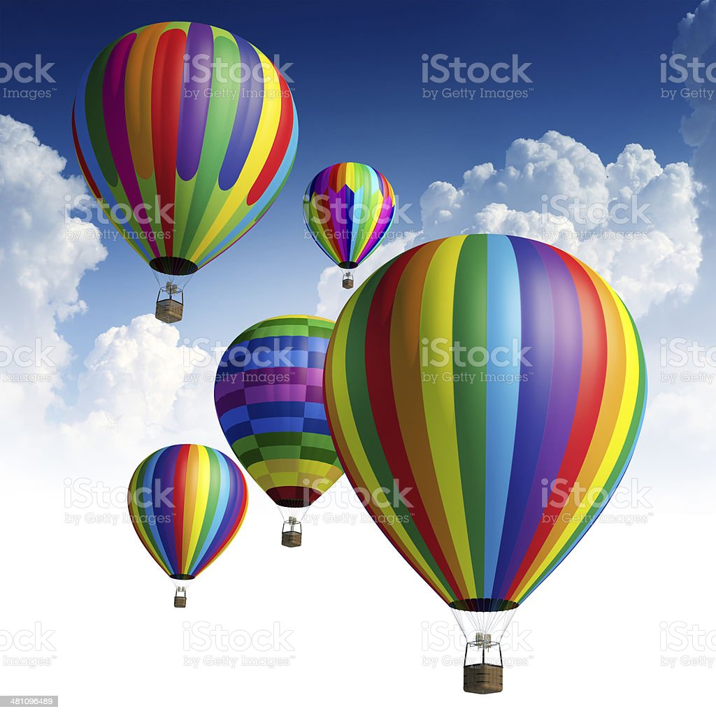 Hot air balloons in the sky royalty-free stock photo