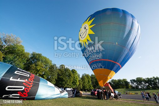 Apolda, Germany - September 9, 2019: Hot air balloons are prepared for the