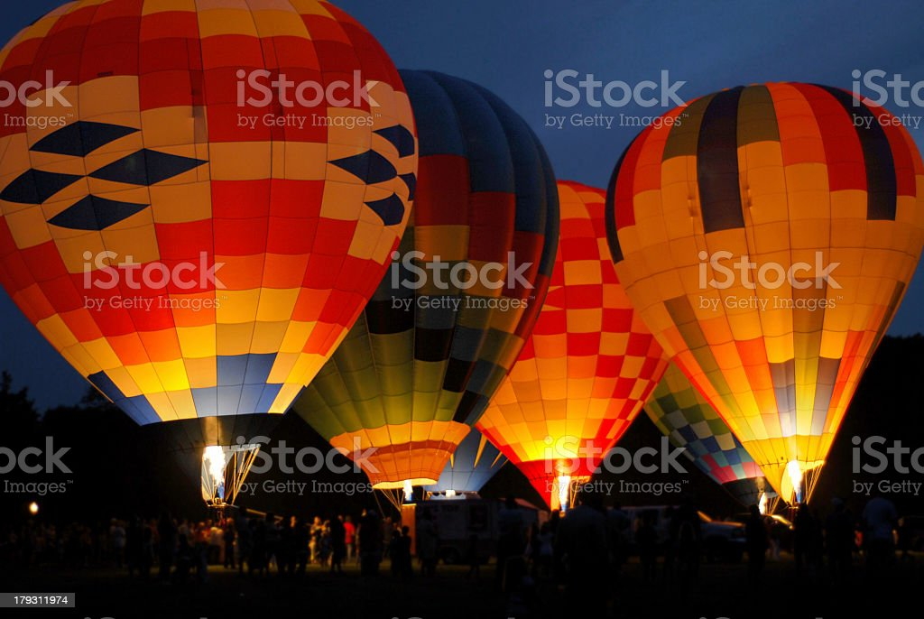 hot air balloons, night glow4 royalty-free stock photo