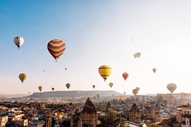 Hot air balloons over Cappadocia at sunrise,Turkey stock photo