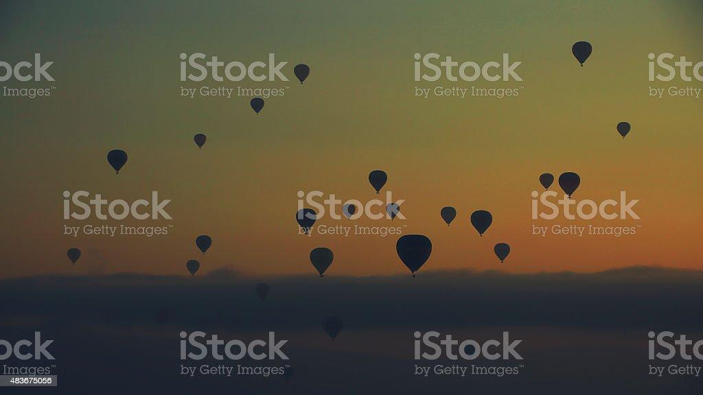 Hot air ballons over Three Beauties in Cappadocia, Turkey. This shot...
