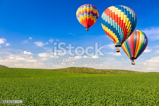 Hot Air Balloons Over Lush Green Landscape and Blue Sky.