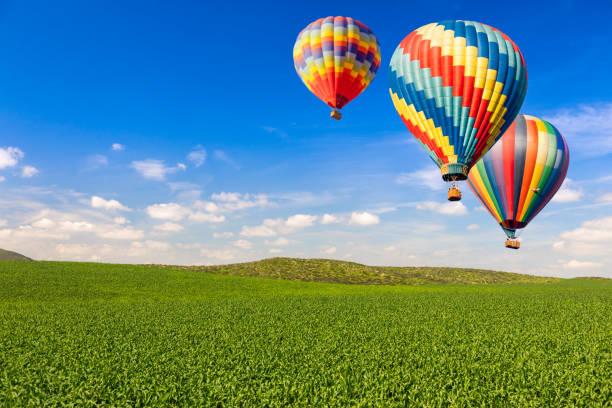 ballons à air chaud sur paysage vert luxuriant et ciel bleu - montgolfière photos et images de collection