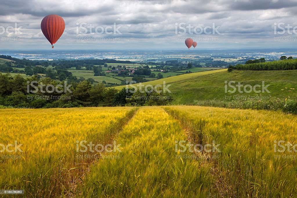 Hot Air Balloons over the East Yorkshire Wolds stock photo