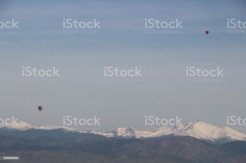 Hot Air Balloons Over the Rockies royalty-free stock photo