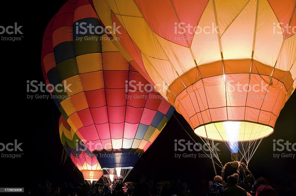 Hot Air Balloons - Predawn Glow stock photo