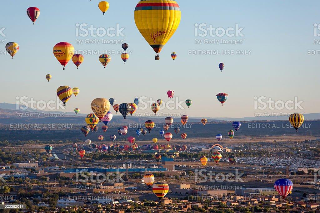 Hot Air Balloons Rising Above Albuquerque New Mexico stock photo