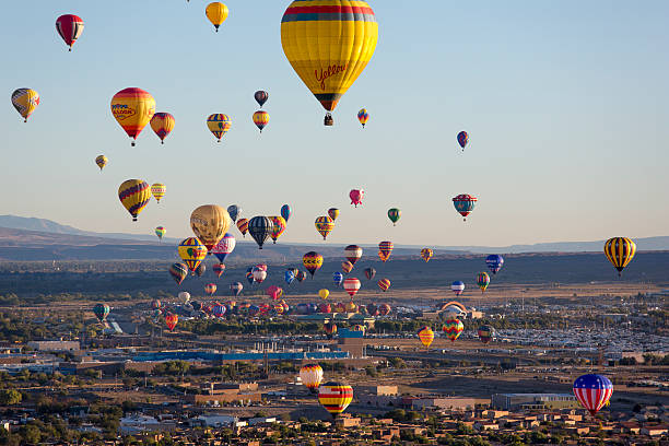 Hot Air Balloons Rising Above Albuquerque New Mexico stock photo