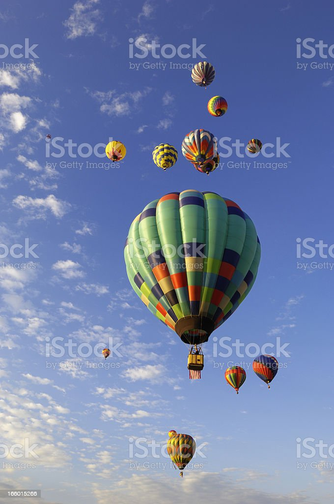Hot Air Balloons, Sky and Clouds royalty-free stock photo